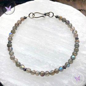 Labradorite Bead Bracelet with Hook Clasp